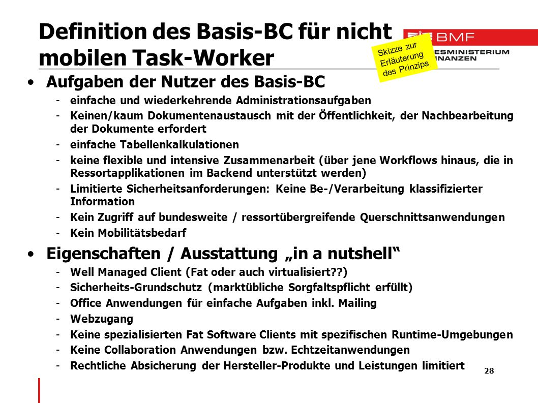 Definition des Basis-BC für nicht mobilen Task-Worker