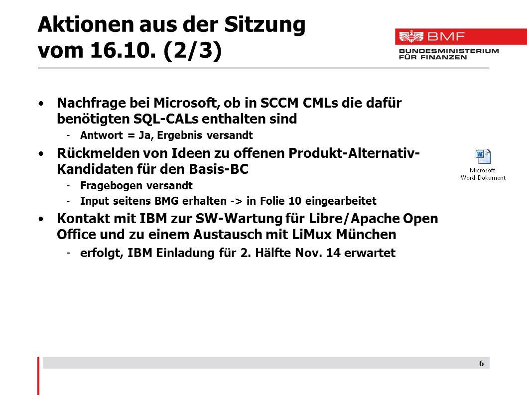 Aktionen aus der Sitzung vom 16.10. (2/3)