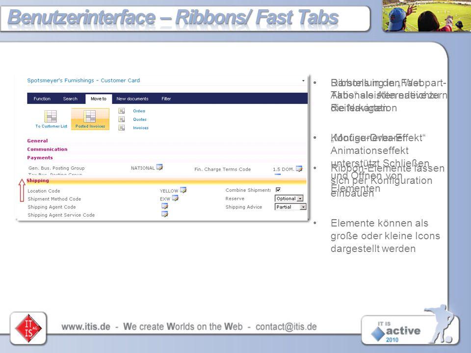 Benutzerinterface – Ribbons/ Fast Tabs