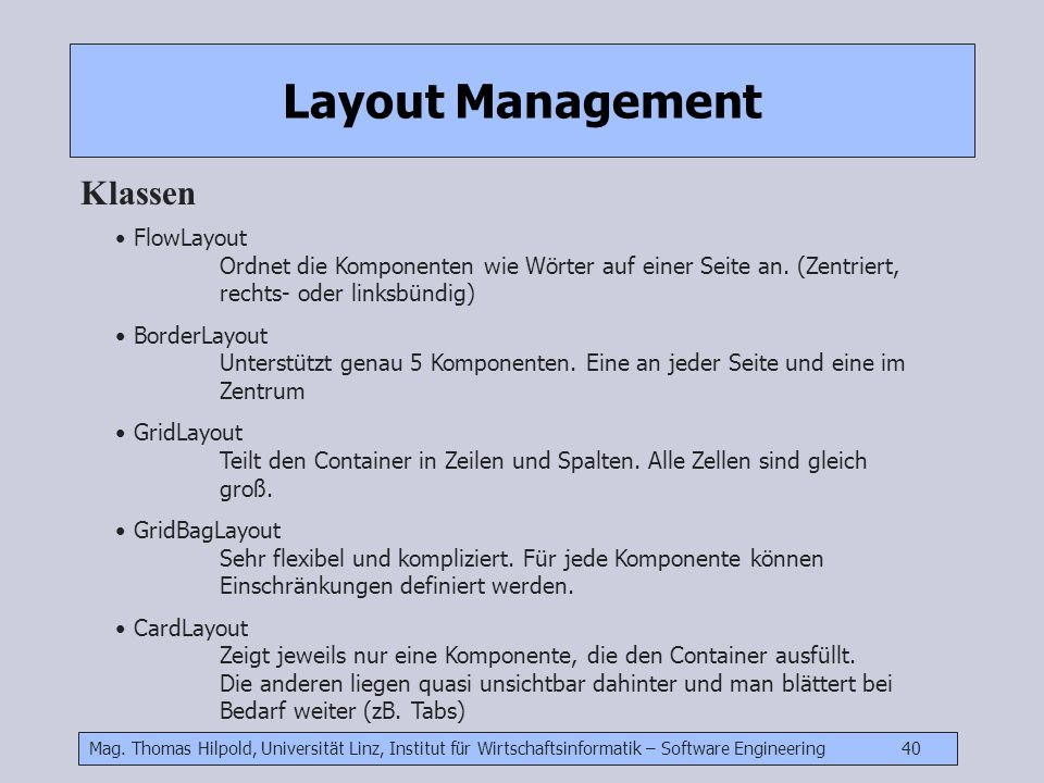 Layout Management Klassen
