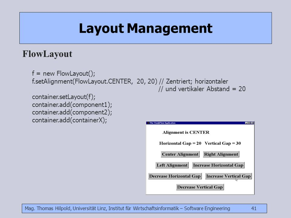 Layout Management FlowLayout