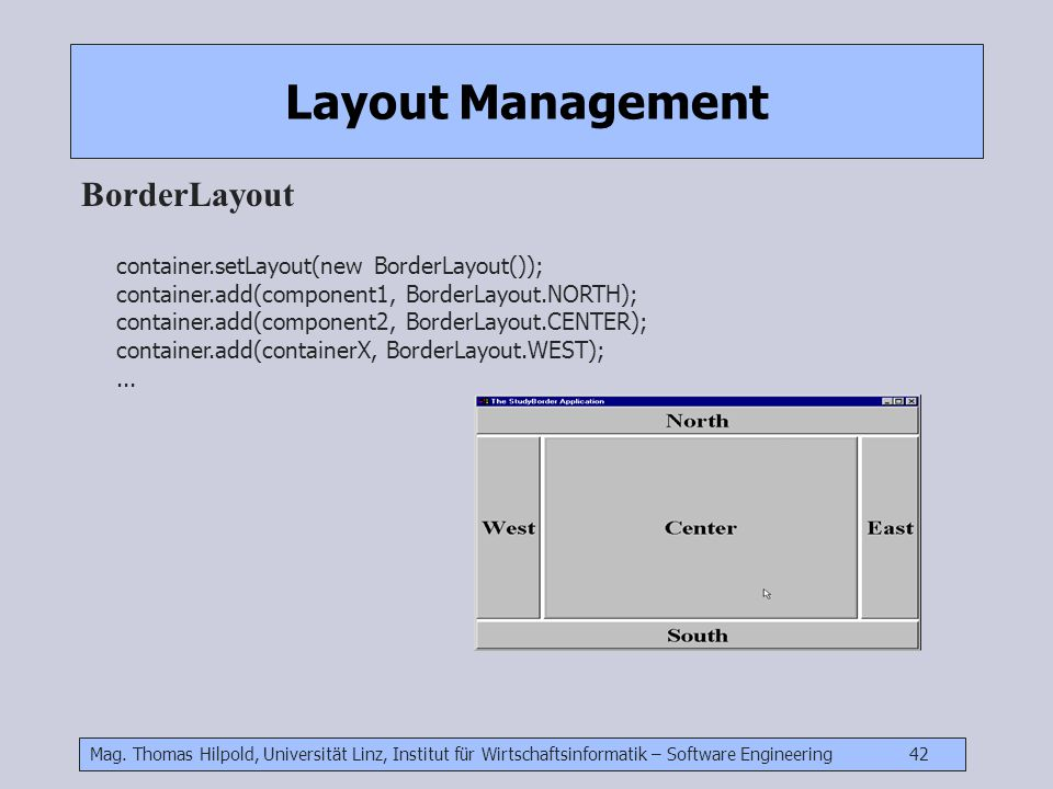 Layout Management BorderLayout