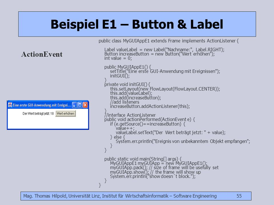 Beispiel E1 – Button & Label