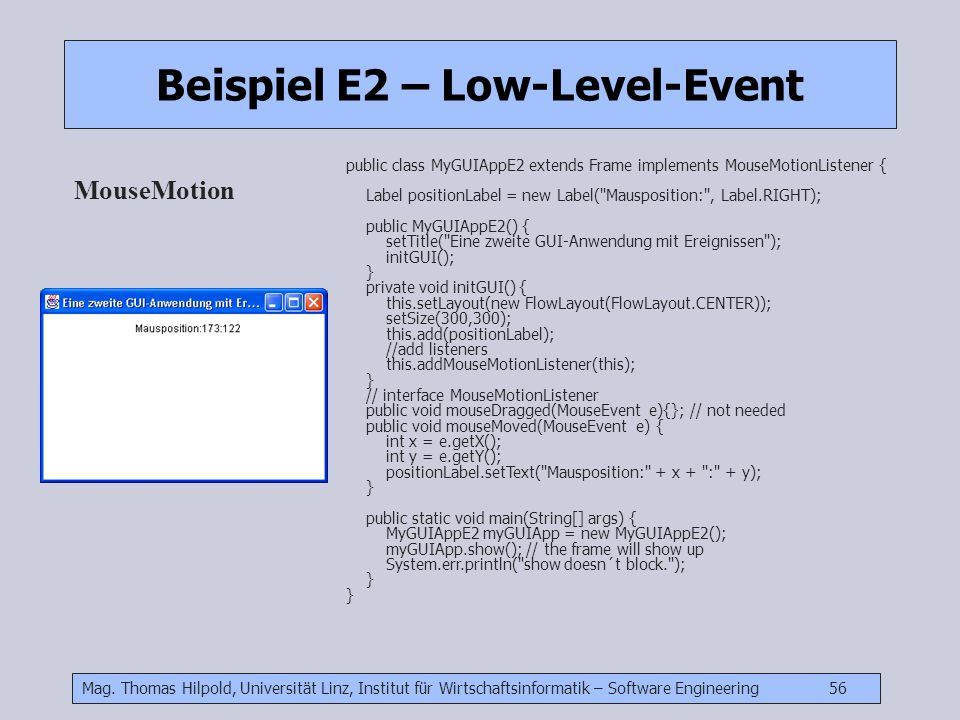 Beispiel E2 – Low-Level-Event