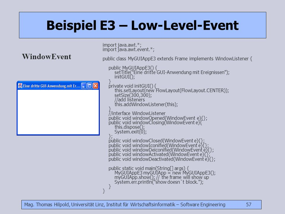 Beispiel E3 – Low-Level-Event