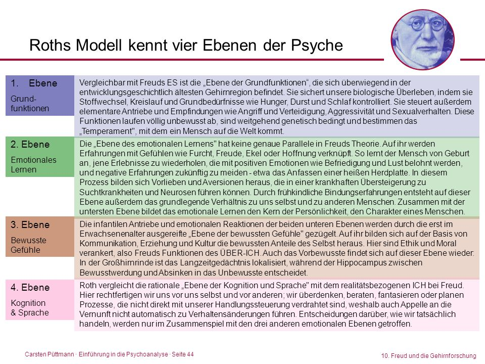 Roths Modell kennt vier Ebenen der Psyche