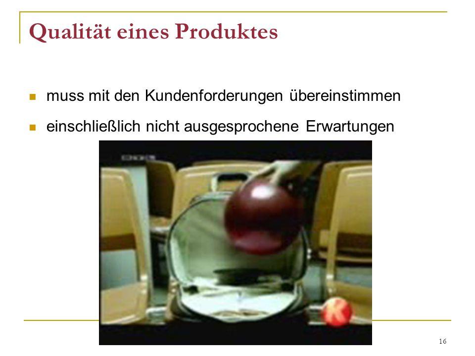 Qualität eines Produktes