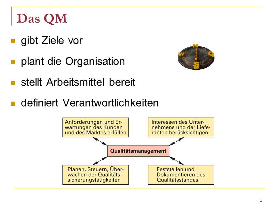Das QM gibt Ziele vor plant die Organisation