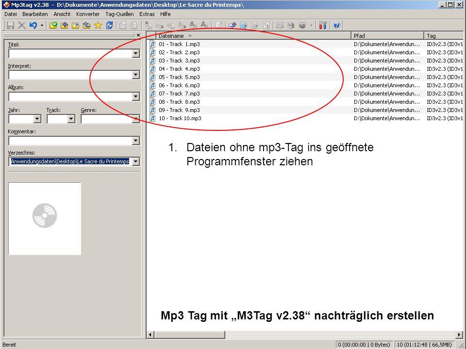 1. Dateien ohne mp3-Tag ins geöffnete Programmfenster ziehen
