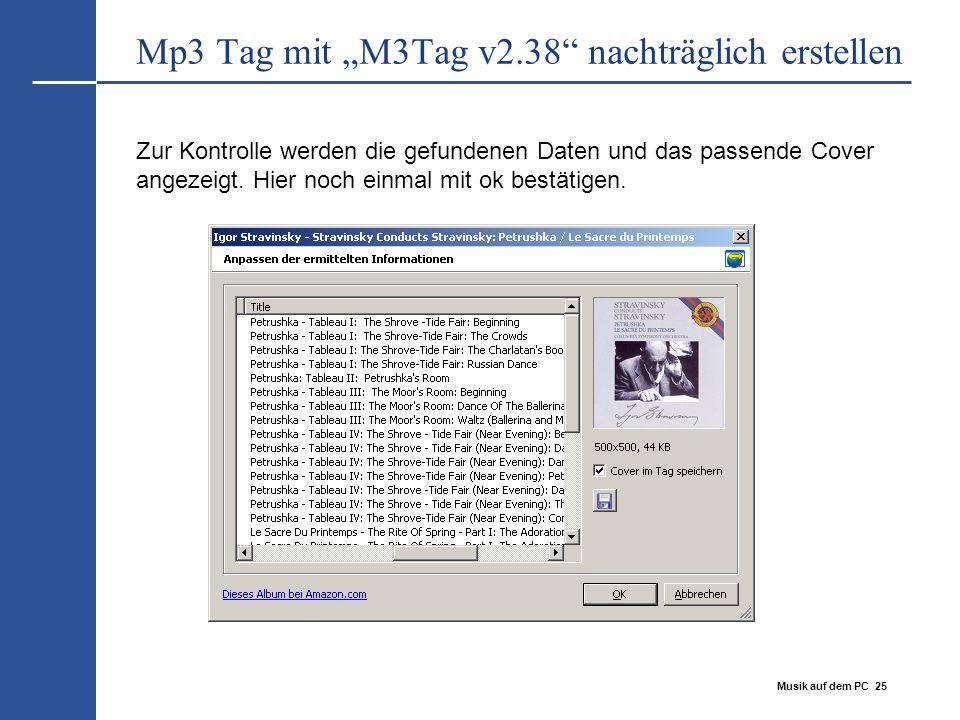 """Mp3 Tag mit """"M3Tag v2.38 nachträglich erstellen"""