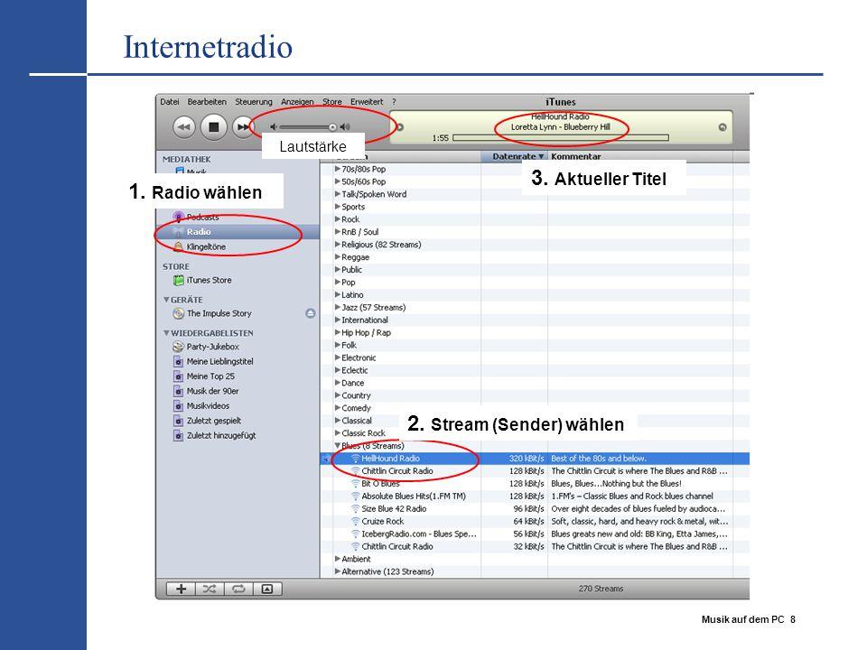 Internetradio 3. Aktueller Titel 1. Radio wählen