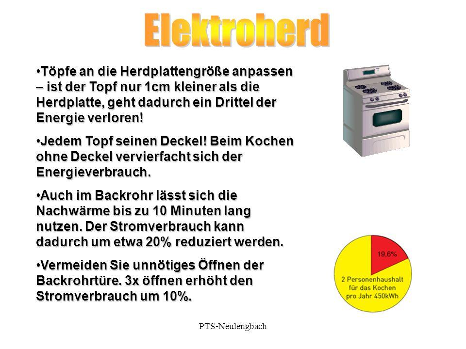 Elektroherd Töpfe an die Herdplattengröße anpassen – ist der Topf nur 1cm kleiner als die Herdplatte, geht dadurch ein Drittel der Energie verloren!