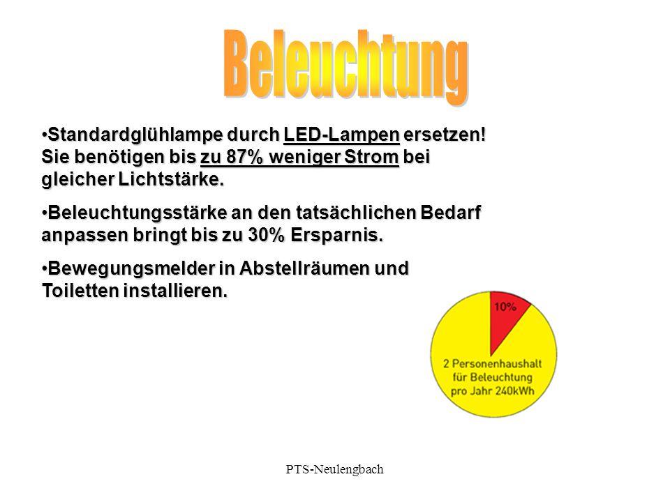 Beleuchtung Standardglühlampe durch LED-Lampen ersetzen! Sie benötigen bis zu 87% weniger Strom bei gleicher Lichtstärke.