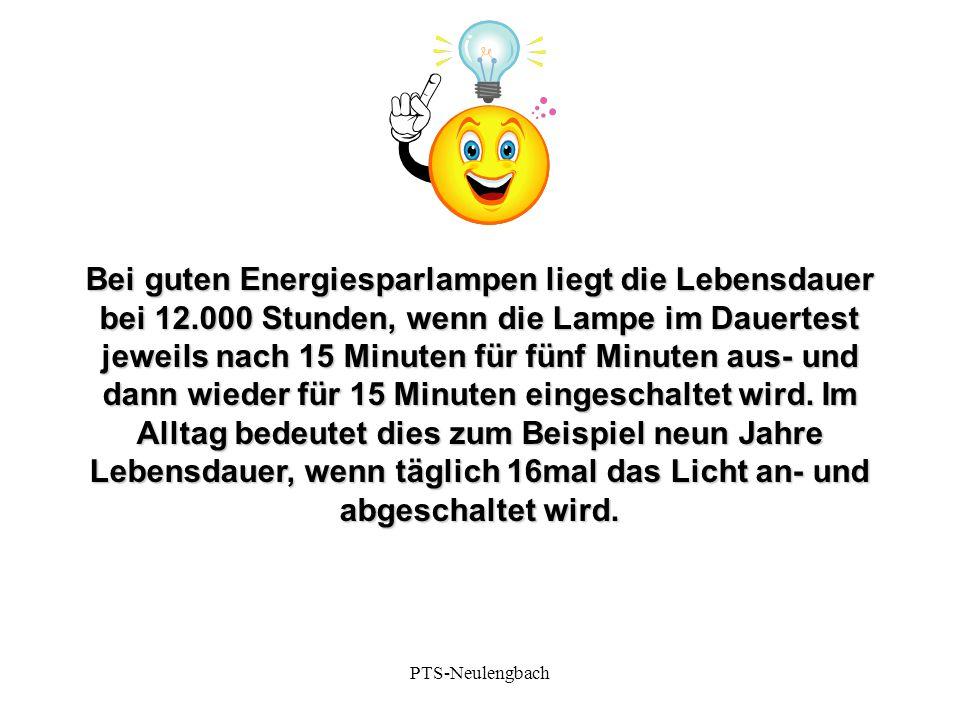 Bei guten Energiesparlampen liegt die Lebensdauer bei 12