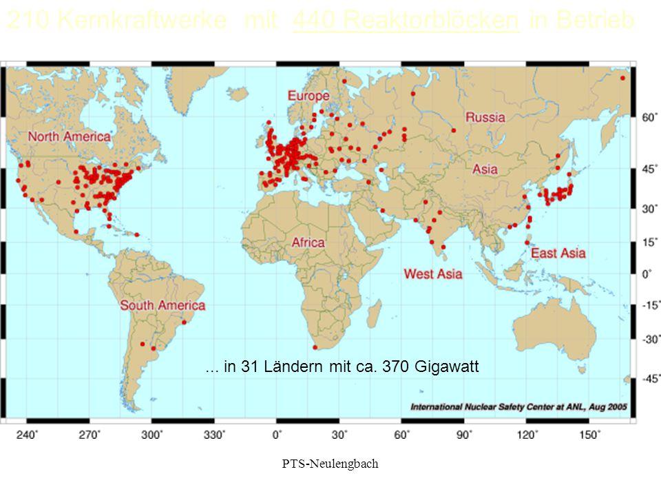 210 Kernkraftwerke mit 440 Reaktorblöcken in Betrieb