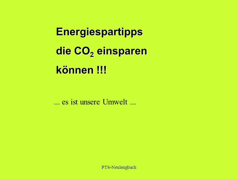 Energiespartipps die CO2 einsparen können !!!
