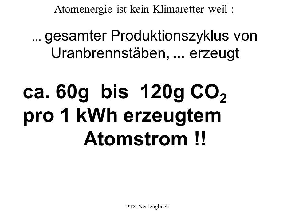 ca. 60g bis 120g CO2 pro 1 kWh erzeugtem Atomstrom !!
