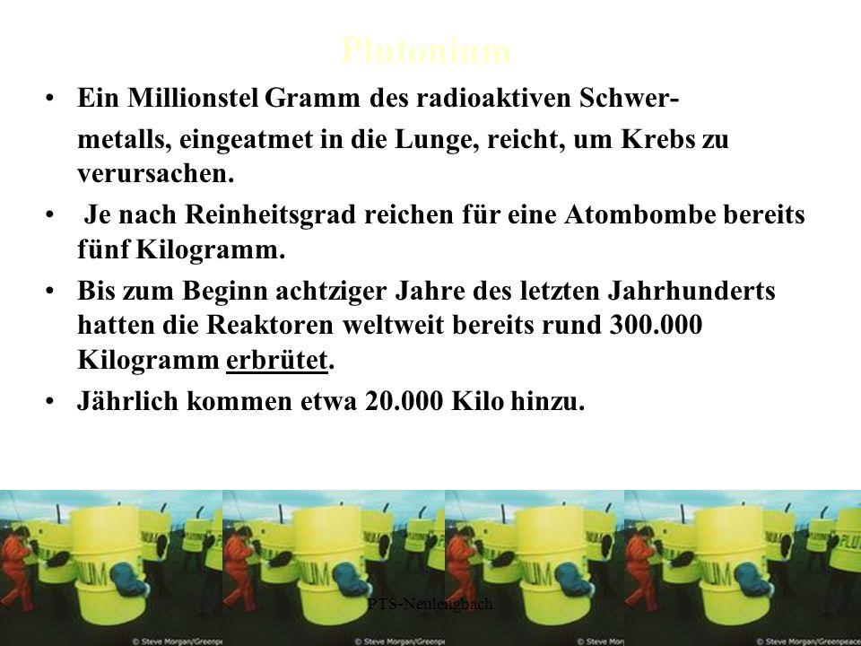 Plutonium Ein Millionstel Gramm des radioaktiven Schwer-