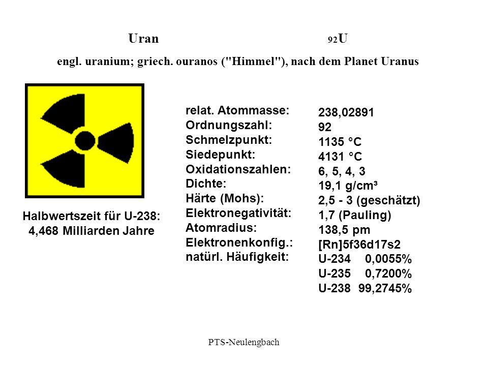 engl. uranium; griech. ouranos ( Himmel ), nach dem Planet Uranus