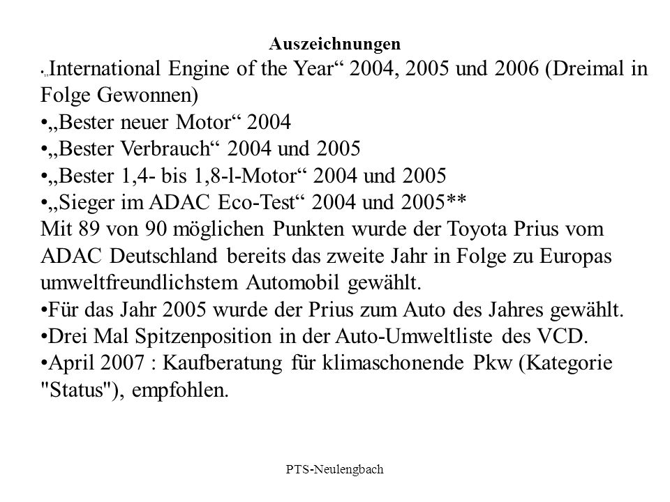 """""""Bester Verbrauch 2004 und 2005"""