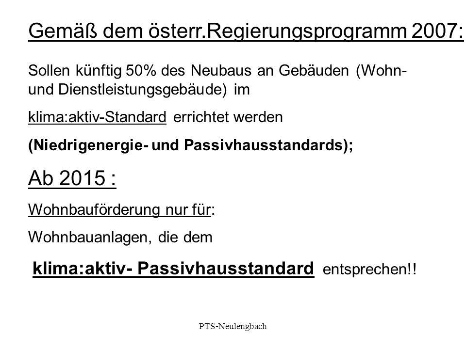 Gemäß dem österr.Regierungsprogramm 2007:
