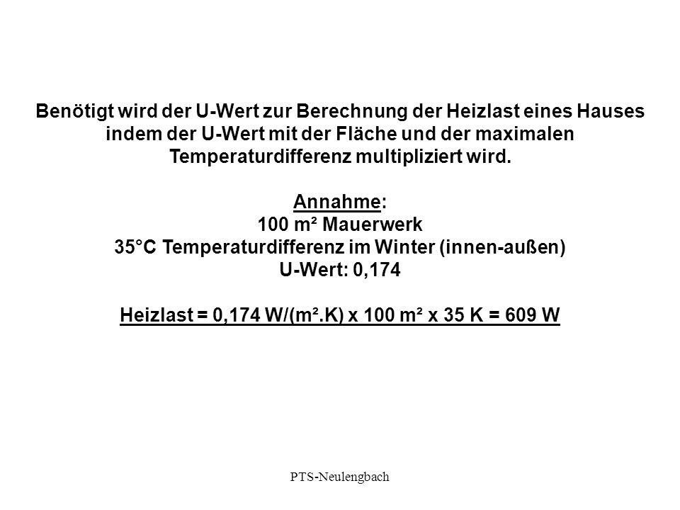U-Wert: 0,174 Heizlast = 0,174 W/(m².K) x 100 m² x 35 K = 609 W