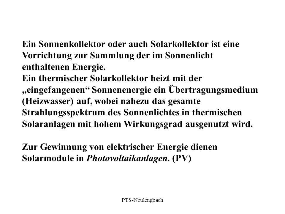 Ein Sonnenkollektor oder auch Solarkollektor ist eine Vorrichtung zur Sammlung der im Sonnenlicht enthaltenen Energie.