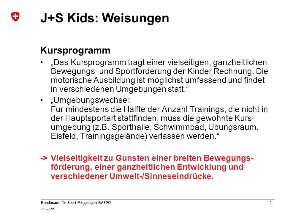 J+S Kids: Weisungen Kursprogramm