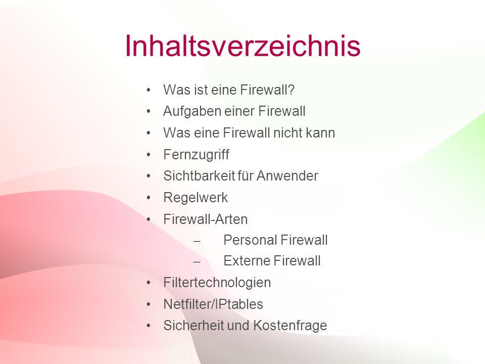 Inhaltsverzeichnis Was ist eine Firewall Aufgaben einer Firewall