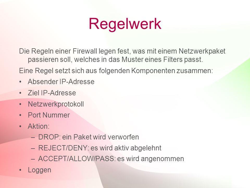 Regelwerk Die Regeln einer Firewall legen fest, was mit einem Netzwerkpaket passieren soll, welches in das Muster eines Filters passt.