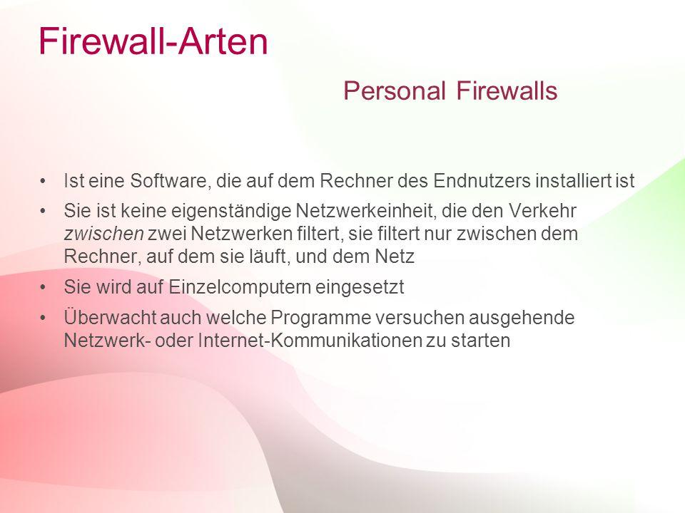 Firewall-Arten Personal Firewalls