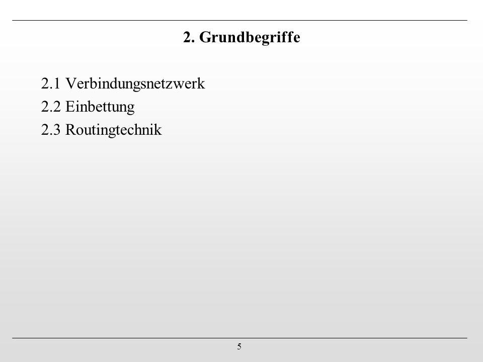 2. Grundbegriffe 2.1 Verbindungsnetzwerk 2.2 Einbettung 2.3 Routingtechnik