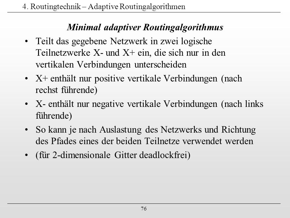 4. Routingtechnik – Adaptive Routingalgorithmen