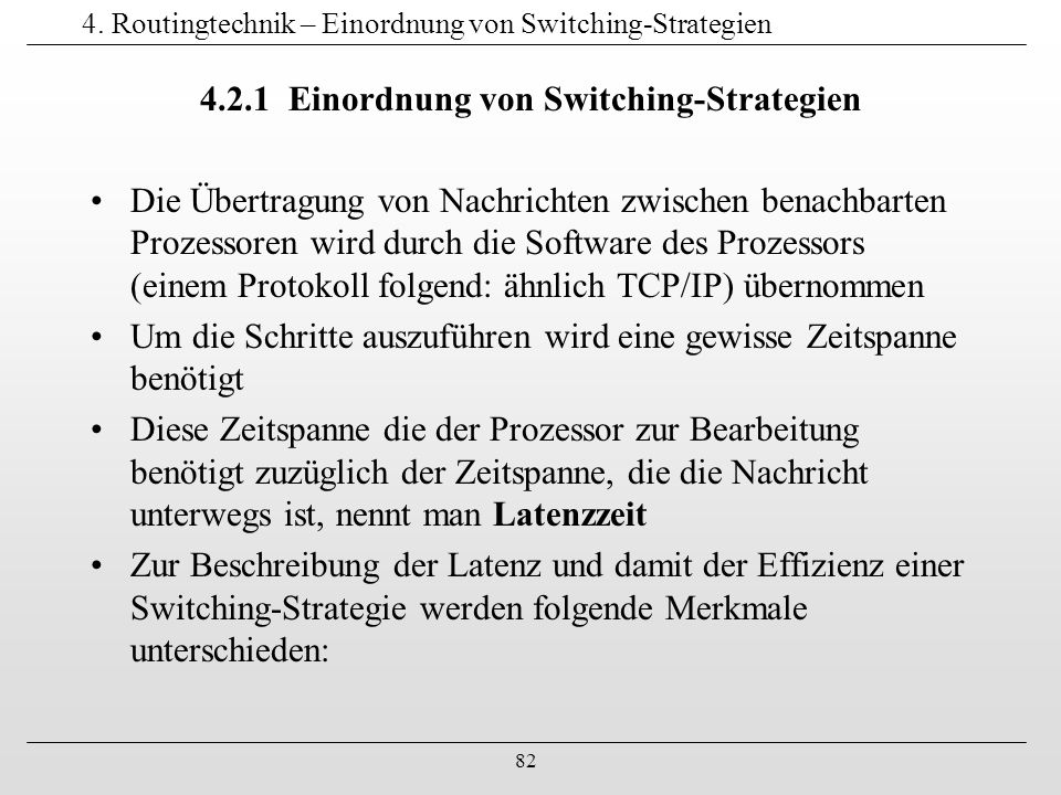 4. Routingtechnik – Einordnung von Switching-Strategien
