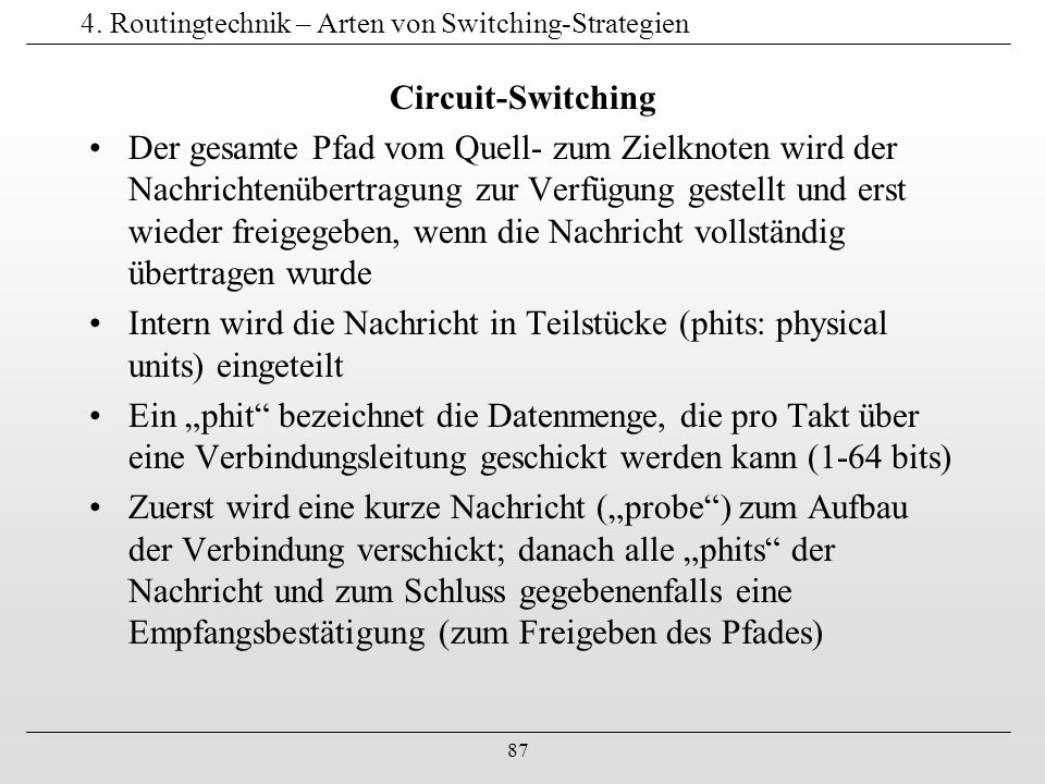 4. Routingtechnik – Arten von Switching-Strategien