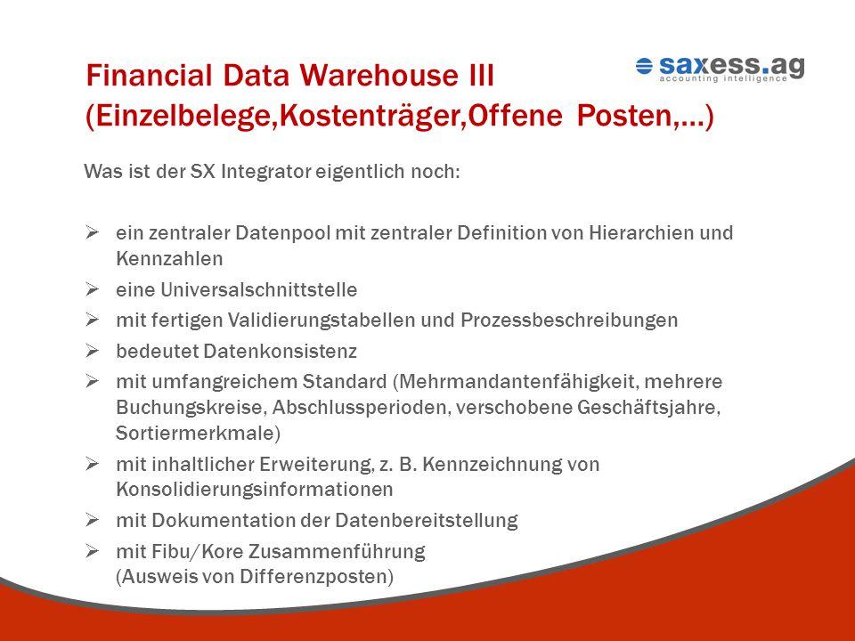 Financial Data Warehouse III (Einzelbelege,Kostenträger,Offene Posten,…)