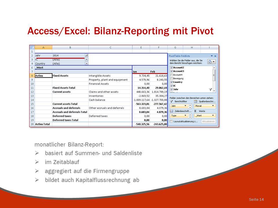 Access/Excel: Bilanz-Reporting mit Pivot