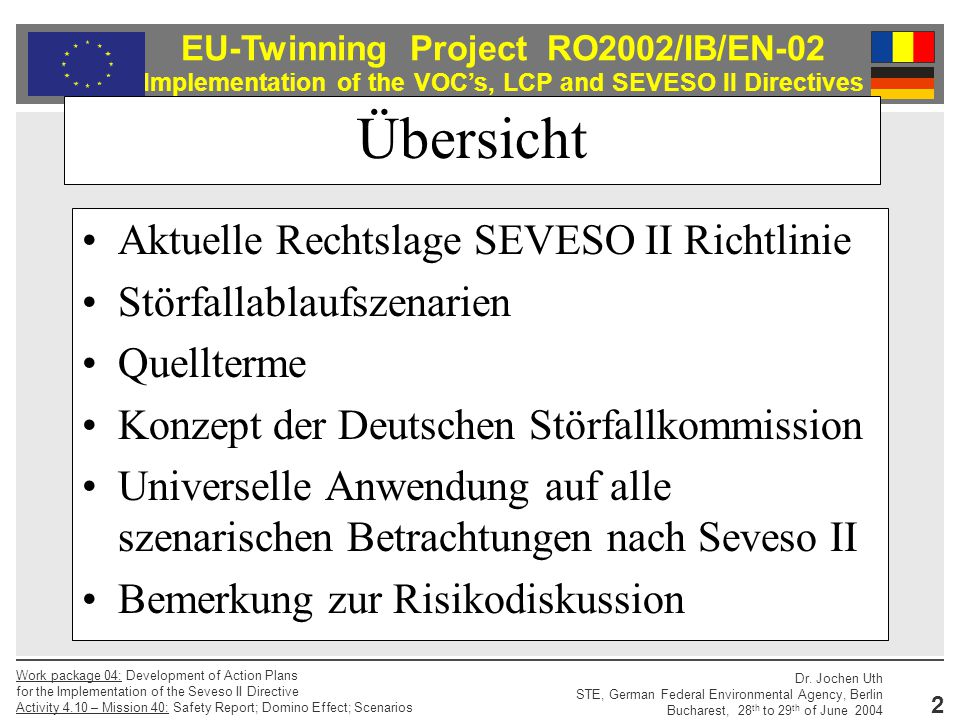 Übersicht Aktuelle Rechtslage SEVESO II Richtlinie