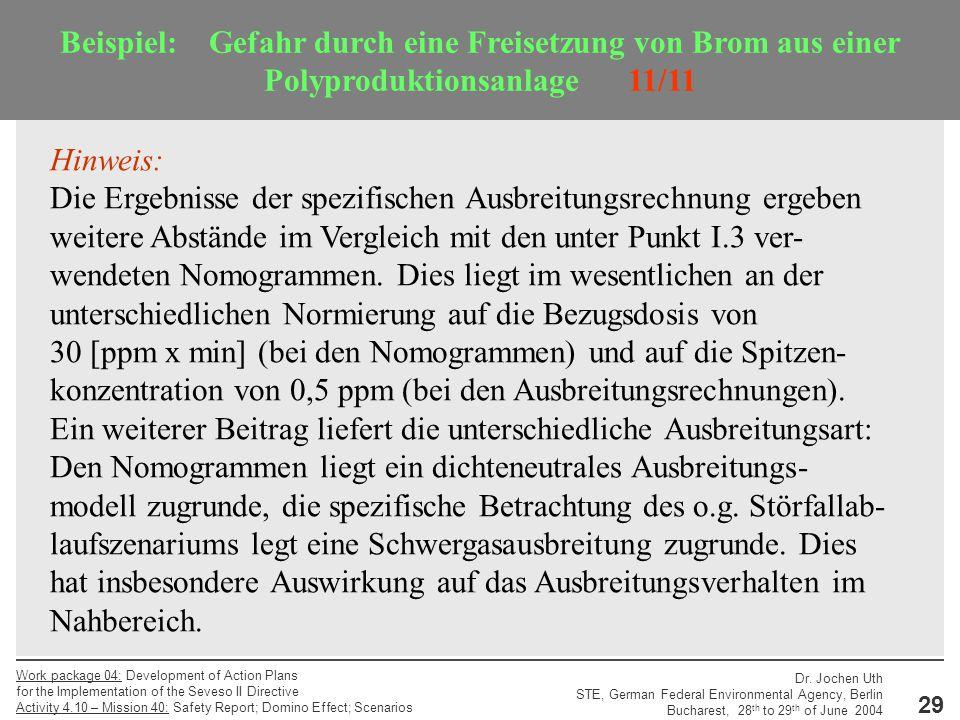 Beispiel: Gefahr durch eine Freisetzung von Brom aus einer Polyproduktionsanlage 11/11