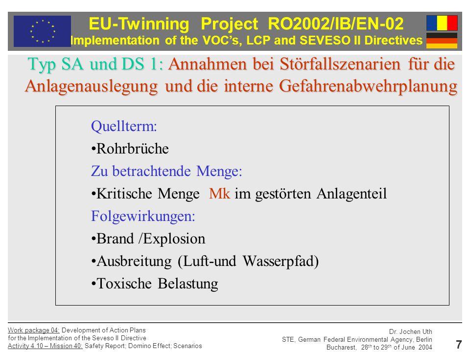 Typ SA und DS 1: Annahmen bei Störfallszenarien für die Anlagenauslegung und die interne Gefahrenabwehrplanung