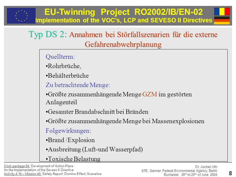 Typ DS 2: Annahmen bei Störfallszenarien für die externe Gefahrenabwehrplanung