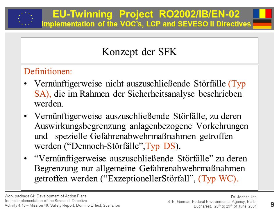 Konzept der SFK Definitionen: