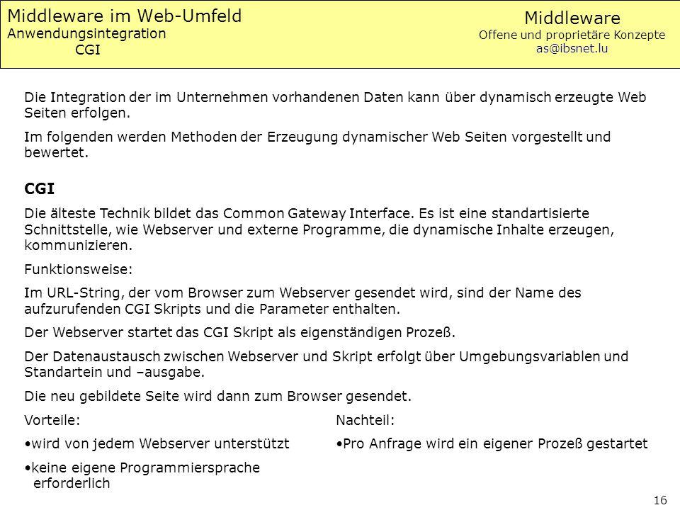 Middleware im Web-Umfeld Anwendungsintegration CGI