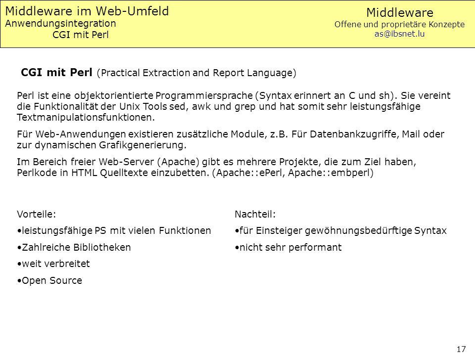 Middleware im Web-Umfeld Anwendungsintegration CGI mit Perl