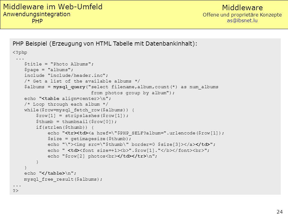 Middleware im Web-Umfeld Anwendungsintegration PHP
