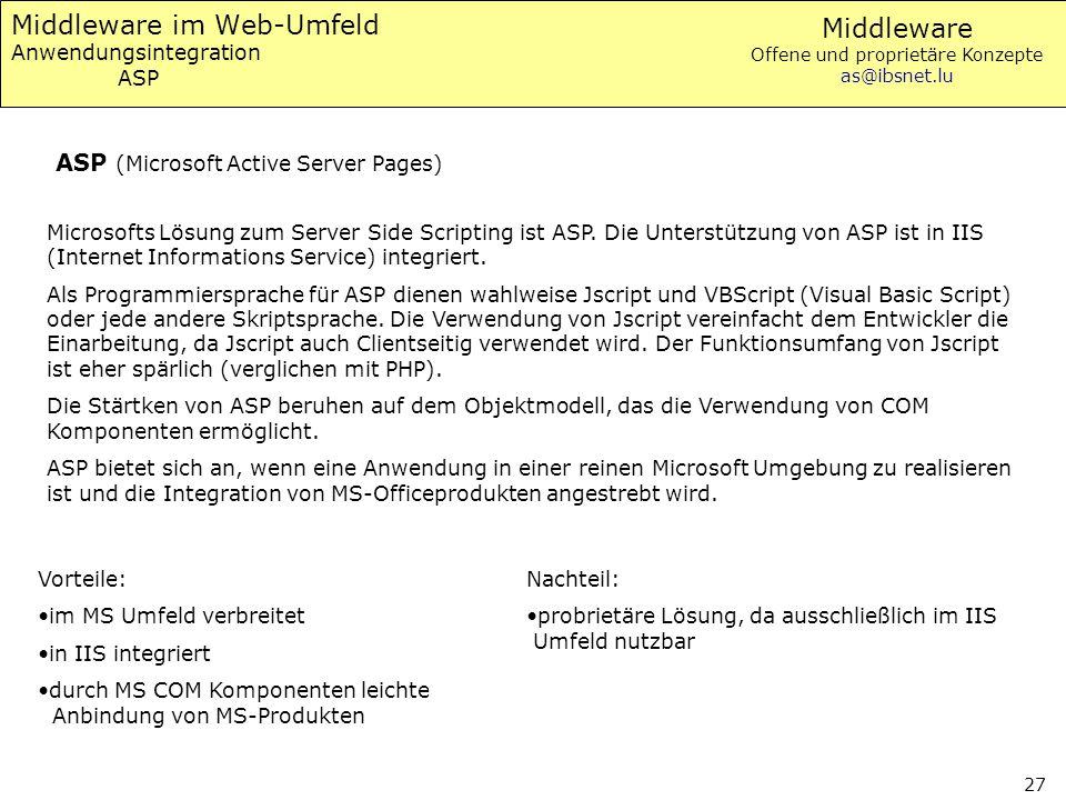 Middleware im Web-Umfeld Anwendungsintegration ASP