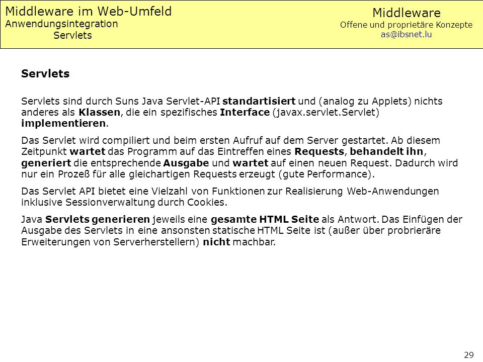 Middleware im Web-Umfeld Anwendungsintegration Servlets