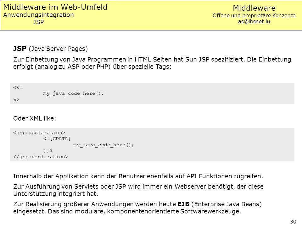 Middleware im Web-Umfeld Anwendungsintegration JSP