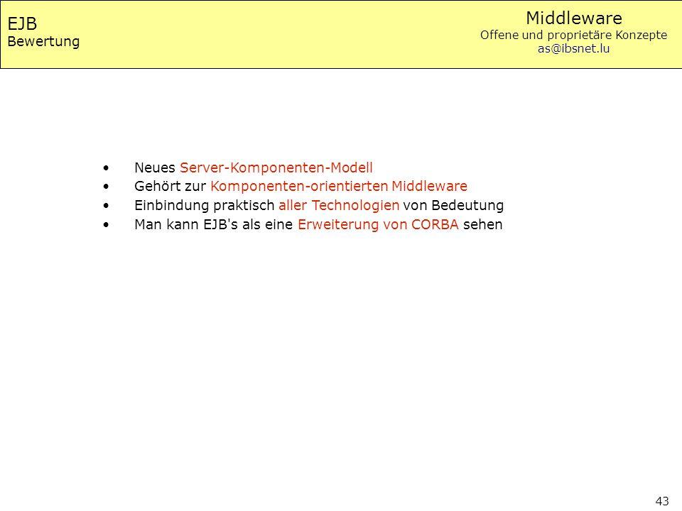 EJB Bewertung Neues Server-Komponenten-Modell