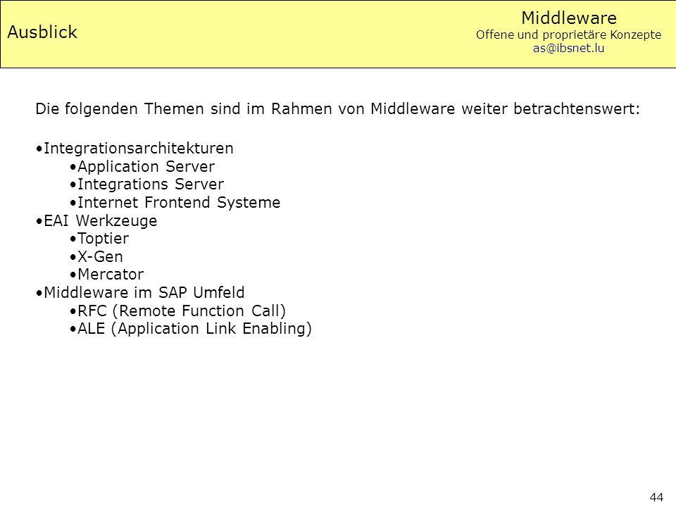 Ausblick Die folgenden Themen sind im Rahmen von Middleware weiter betrachtenswert: Integrationsarchitekturen.